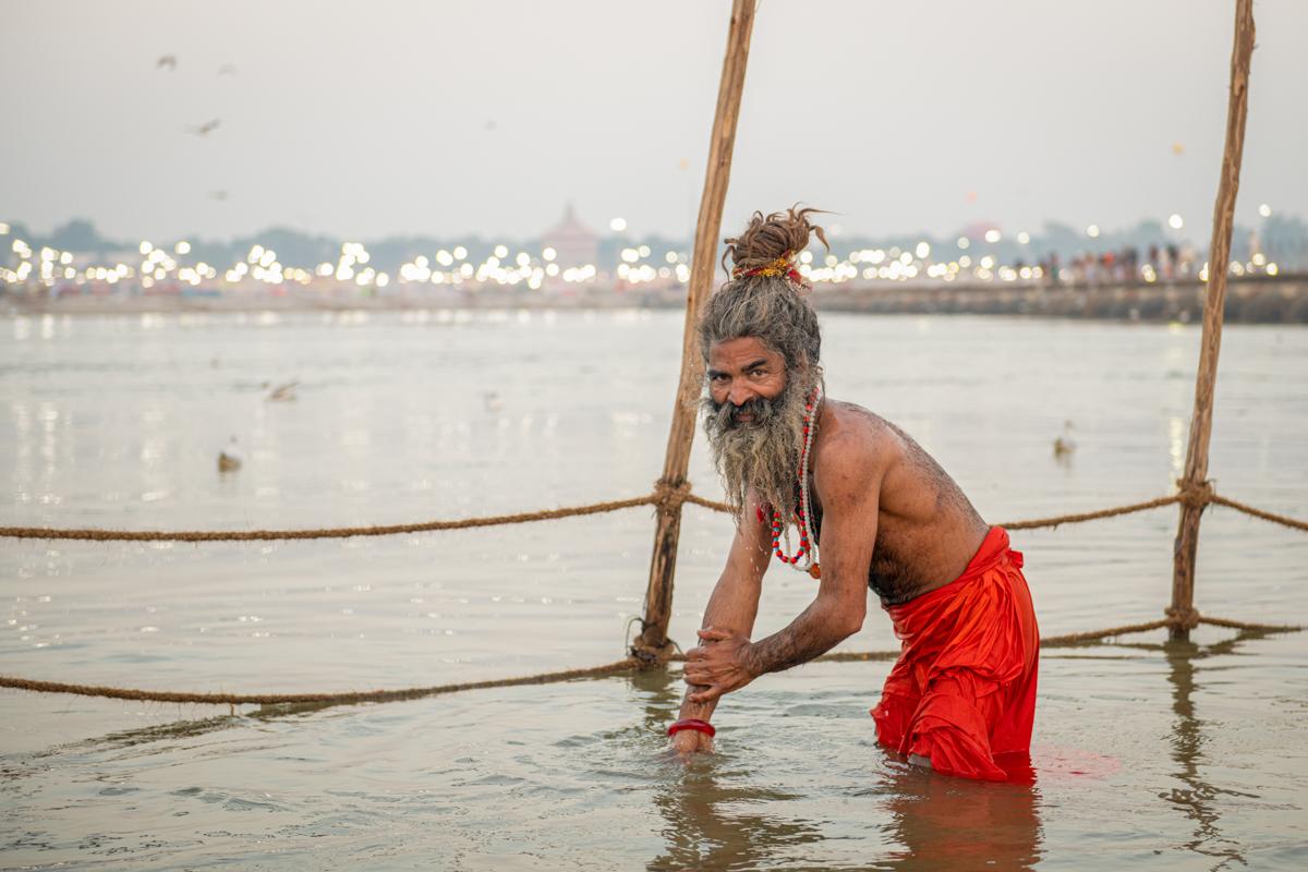 Kumbh Mela - Man bathing