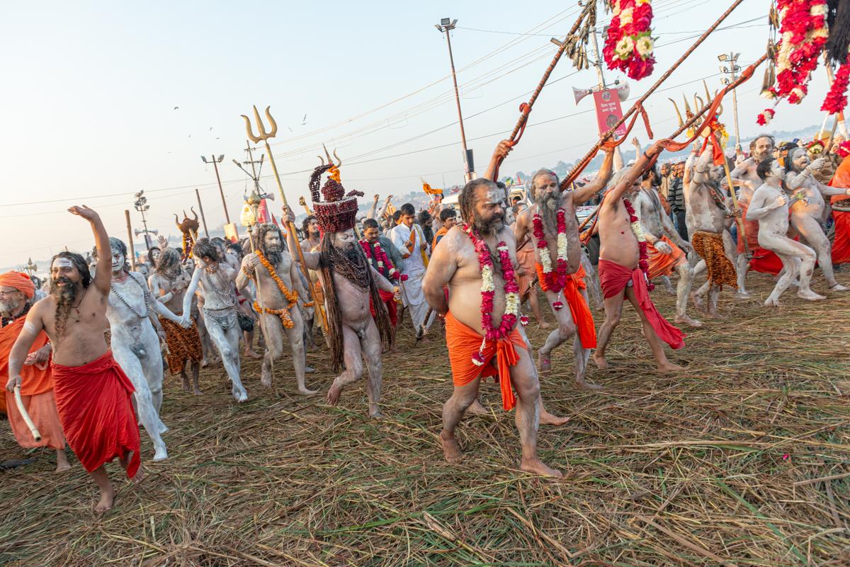 Peshwai Processie tijdens de Kumbh Mela in Allahabad op Shahi Snan