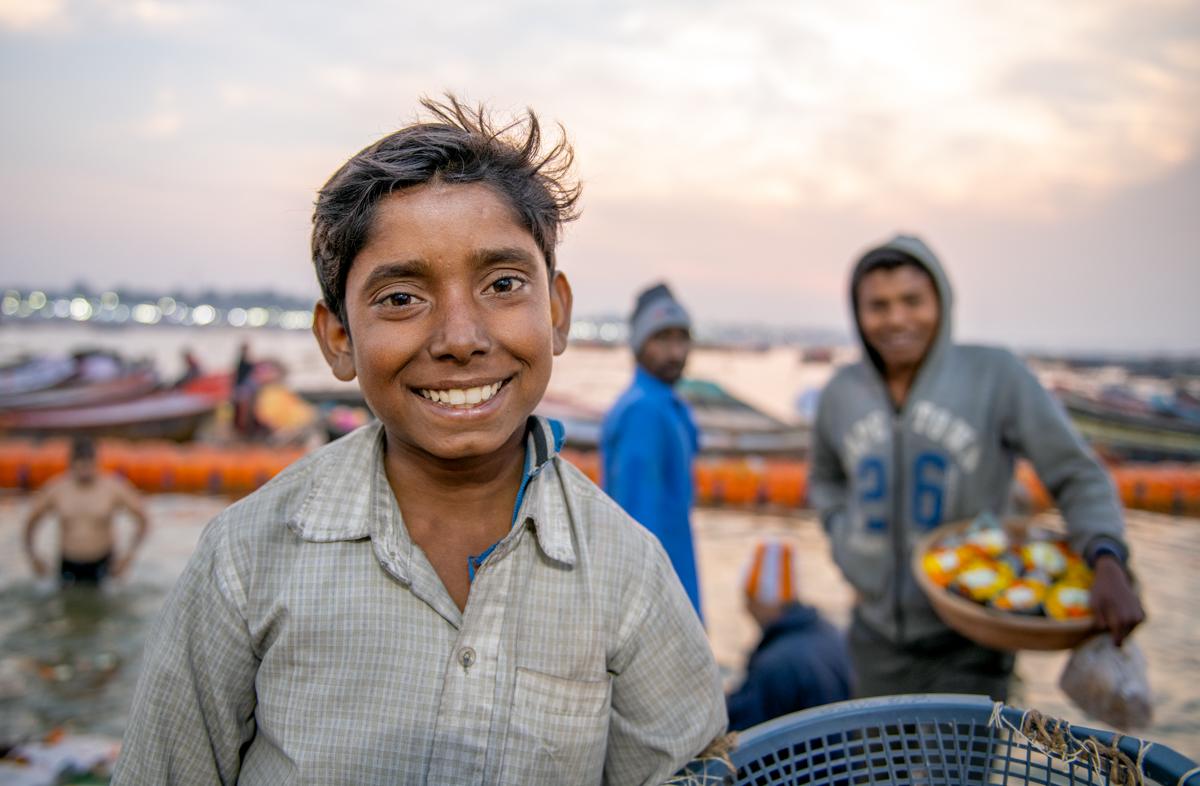 Kumbh Mela - Boy smiling